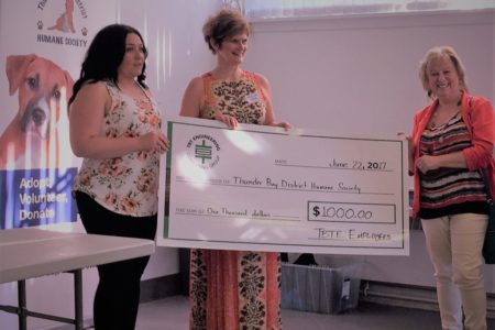TBTE Employees Donate $1,000 To Thunder Bay & District Humane Society